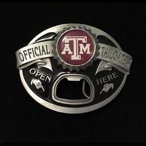 Texas A&M Bottle Opener Belt Buckle.